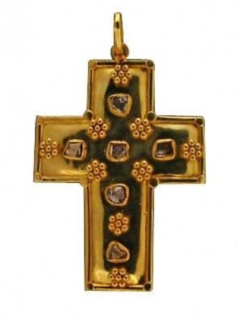 Estate 18k Yellow Gold Hand Form Edging Rose Cut Bezel Set Diamond Cross Pendant