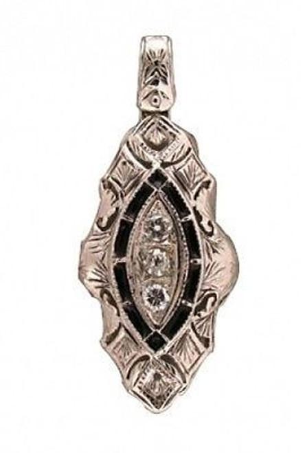 Estate 1930s 14k White Gold Black Enamel Hand Pierced Work Diamond Pendant
