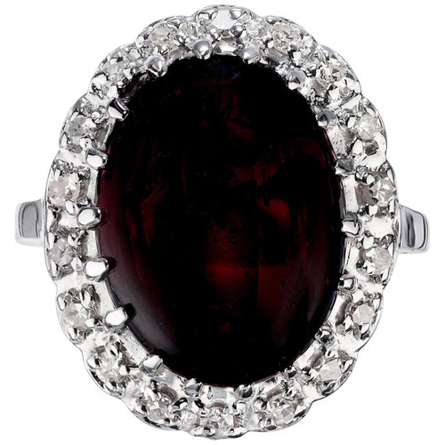 13.75 Carat Oval Garnet Diamond Halo White Gold Cocktail Ring
