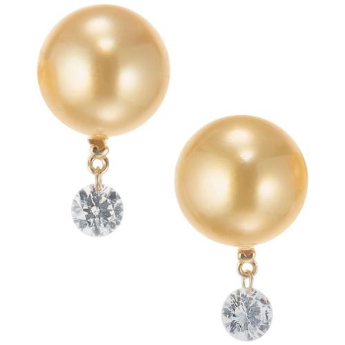 Tara T & S .40 Carat Diamond Golden Cultured Pearl Yellow Gold Dangle Earrings