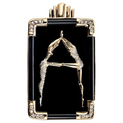 Erte .30 Carat Diamond Onyx Yellow Gold Dancer Letter A Brooch