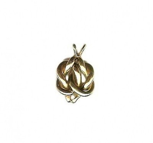 Estate 1935 Heavy Solid Intertwined Pink & Green Gold Heart Shape Knots Pendant
