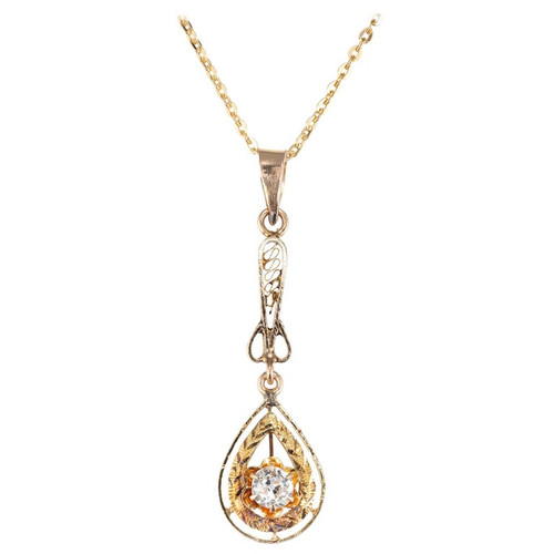 .20 Carat Diamond Yellow Gold Pendant Victorian Necklace