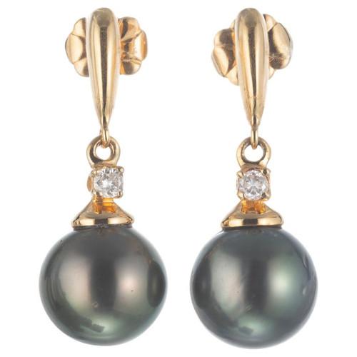 .10 Carat Diamond Black Cultured Pearl Yellow Gold Dangle Earrings