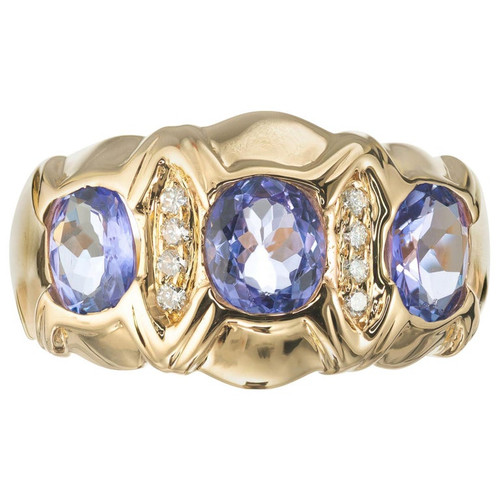 1.50 Carat Tanzanite Diamond Yellow Gold Three-Stone Band Ring