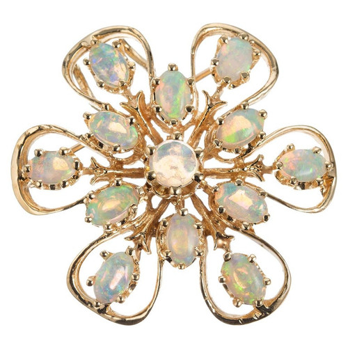 1.55 Carat Opal Yellow Gold Brooch Pendant