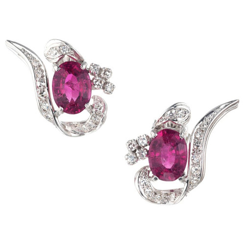 3.10 Carat Pink Tourmaline Diamond White Gold Swirl Midcentury Earrings