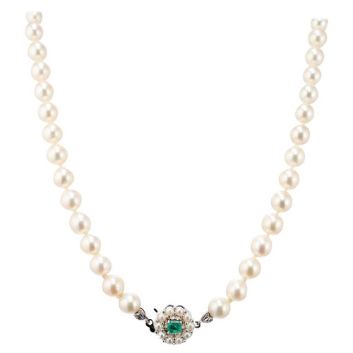 .30 Carat Emerald Cultured Pearl Midcentury White Gold Necklace