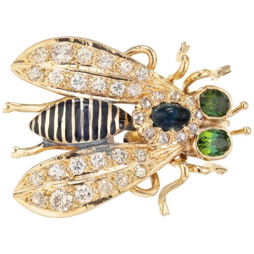 2.50 Carat Sapphire Diamond Enamel Yellow Gold Three Dimensional Fly Brooch