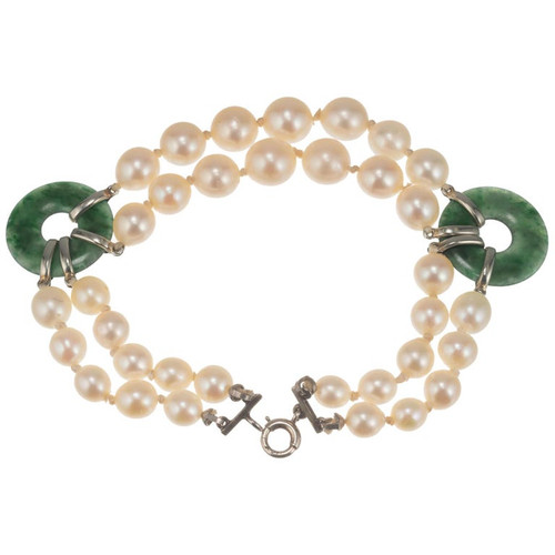 GIA Certified Jadeite Jade Cultured Pearl White Gold Two-Row Bracelet