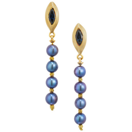 Robin Rotenier .90 Carat Sapphire Pearl Yellow Gold Dangle Drop Earrings