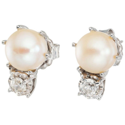 .35 Carat Diamond Cultured Pearl Midcentury Earrings