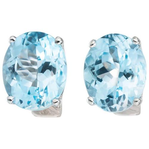 10.00 Carat Blue Oval Topaz White Gold Lever Back Earrings