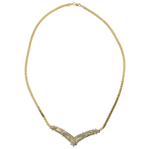 Estate 14k Yellow & White Gold Dramatic Chevron 2.50ct Diamond Pendant Necklace
