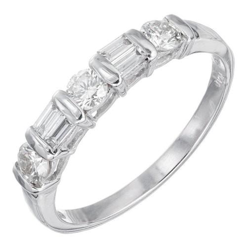 .50 Carat Diamond Baguette Round Platinum Wedding Band Ring