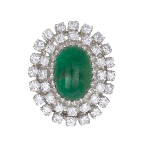 GIA Certified 3.00 Carat Emerald Diamond White Gold Midcentury Cocktail Ring