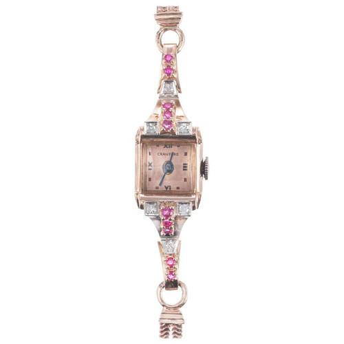 Crawford .12 Carat Diamond Ruby Rose Gold Ladies Wristwatch
