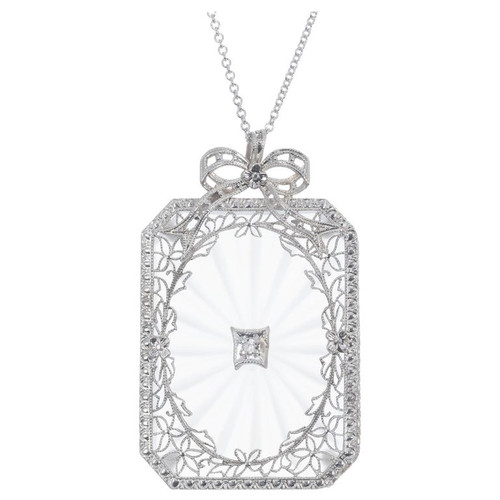 Quartz Diamond Filigree Pendant Necklace