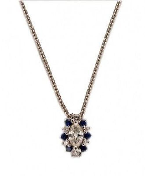 Estate 1960'S Marquise Diamond And Sapphire 14k White Gold Slide Pendant Chain