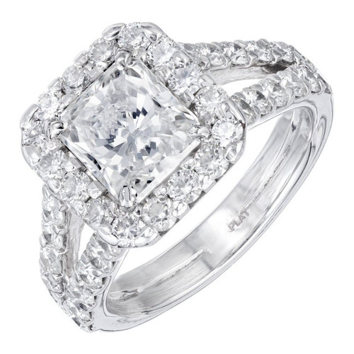 Peter Suchy GIA Certified 1.53 Carat Diamond Halo Platinum Engagement Ring