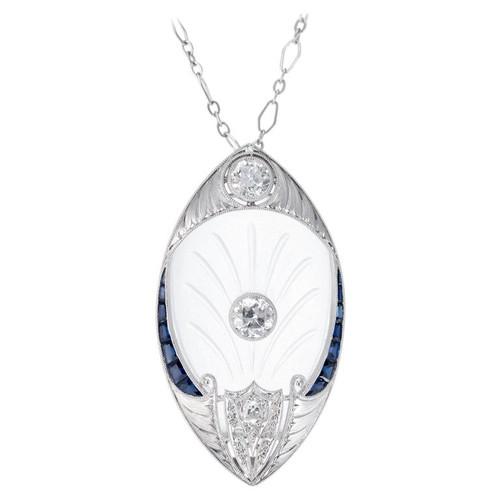 1.25 Carat Diamond Angel Skin Quartz Sapphire Art Deco Platinum Pendant Necklace