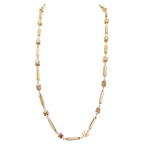 Yellow Gold 3D Bar Cube Link Necklace