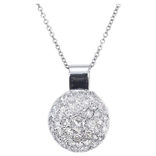 .95 Carat Round Diamond Domed Cluster White Gold Pendant Necklace