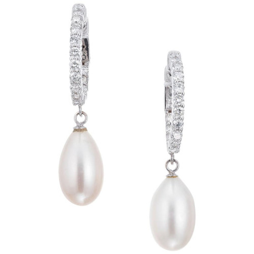 1.25 Carat Diamond Freshwater Pearl White Gold Hoop Dangle Earrings