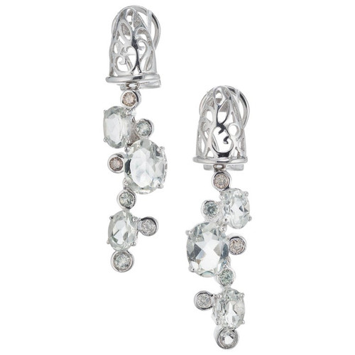 2.90 Carat Aquamarine Diamond White Gold Dangle Drop Earrings
