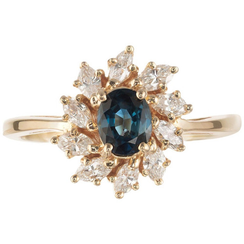 .80 Carat Oval Sapphire Diamond Halo Yellow Gold Cluster Engagement Ring