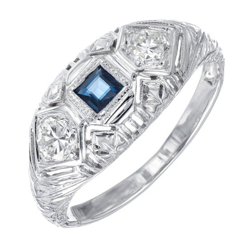 .17 Carat Blue Sapphire Diamond Art Deco White Gold Ring