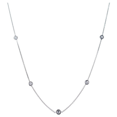 Nine .81 Carat Diamond White Gold Diamond by The Yard Necklace