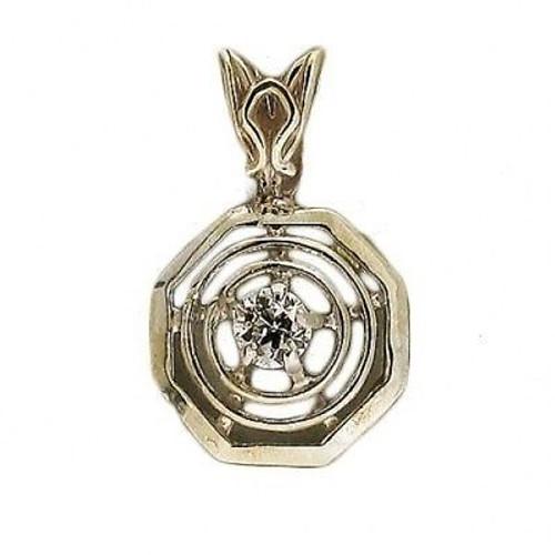 Estate Antique 14k Raised Octagonal Gold 1910 European Cut .08ct Diamond Pendant