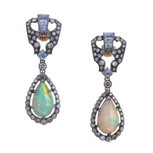 1.00 Carat Diamond Sapphire Opal Yellow Gold Silver Dangle Earrings