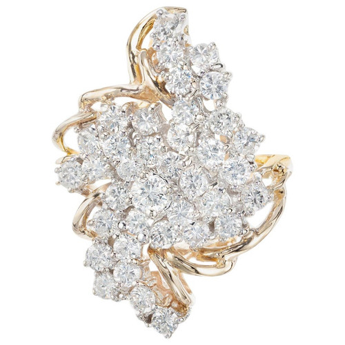 2.00 Carat Diamond Yellow Gold Swirl Cocktail Cluster Ring