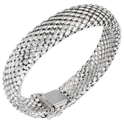 14 Karat White Gold Domed Weave Bracelet