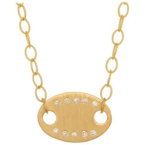 Diamond Yellow Gold Oval Pendant Necklace