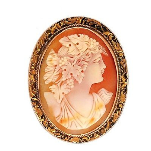 Twist Wire Oval Engraved Frame 12k Pink Gold Hand Carved Shell Cameo Pin Pendant