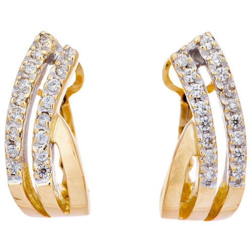 .34 Carat Diamond Yellow Gold Swirl Clip Post Earrings