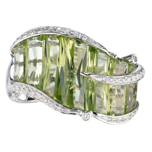 Bellari 5.95 Carat Peridot Diamond White Gold Cocktail Ring