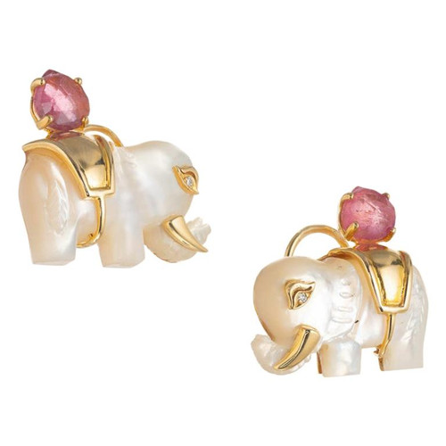 Carved Mother of Pearl Diamond Pink Tourmaline Yellow Gold Elephant Earrings