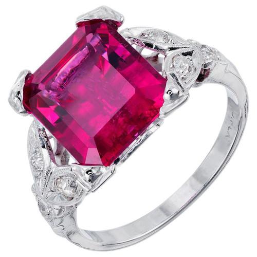 4.49 Carat Red Rubelite Tourmaline Diamond Platinum Cocktail Ring