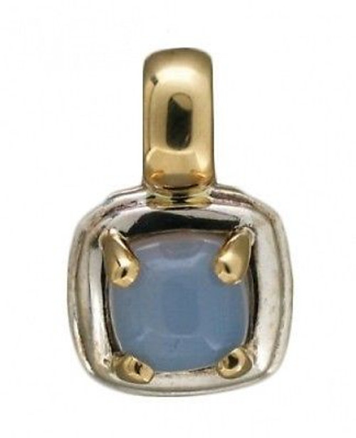 Estate Designer Sterling & 14k Gold Peter Zami Blue Cushion Chalcedony Pendant