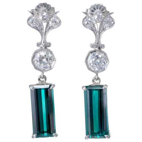 7.13 Carat Tourmaline Diamond Platinum Art Deco Dangle Earrings