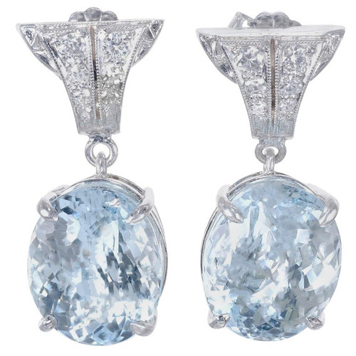 10.08 Carat Aquamarine Diamond Platinum Dangle Earrings