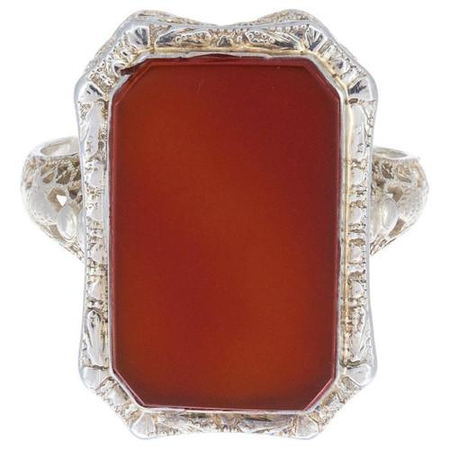 Orange Carnelian White Gold Art Deco Filigree Ring