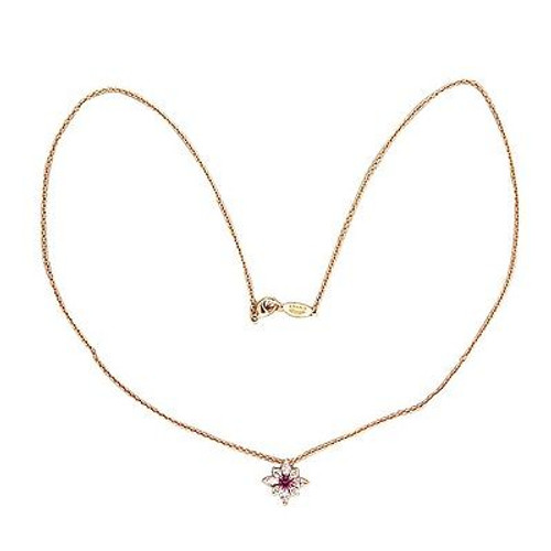 Vintage .15CT Pink Sapphire .37CT Marquise Diamond Kwiat 18k Pink Gold Pendant