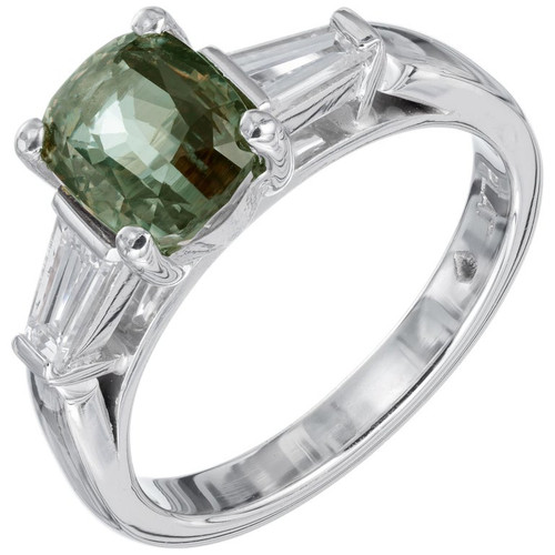 Peter Suchy GIA 2.05 Carat Alexandrite Diamond Platinum Engagement Ring