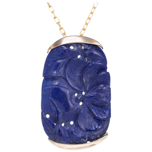GIA Certified Lapis Yellow Gold Carved Pendant Necklace