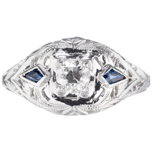 .25 Carat Diamond Sapphire White Gold Dome Engagement Ring
